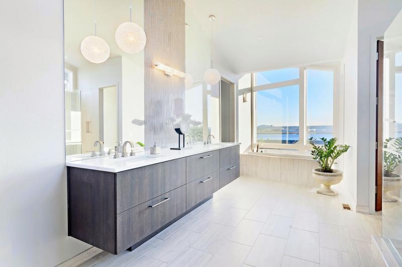 badmobel modern badezimmer waschtisch grau